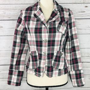 Outer Edge Jacket Plaid Button Front Long Sleeve